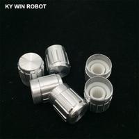 potentiometer knob 10pcs 15*17mm aluminum alloy potentiometer 15*17 knob rotation switch volume control knob white (4)