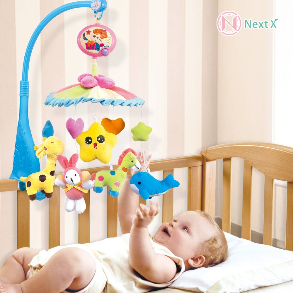 NextX Crib Electric Musical Mobile Baby Cot 20 Lullabies Rotating Toy music Bed Bell with Soft Colorful Plush Dolls kudian bear baby toys baby mobile crib rabbit musical box with holder arm music newborn rotating bed bell plush toy byc078 pt49