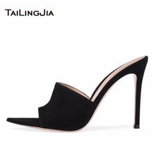 Elegance Black Faux Suede Peep Toe High Heel Mules Sexy Sandals for Women Dress Heels White Ladies Stiletto Fish Mouth
