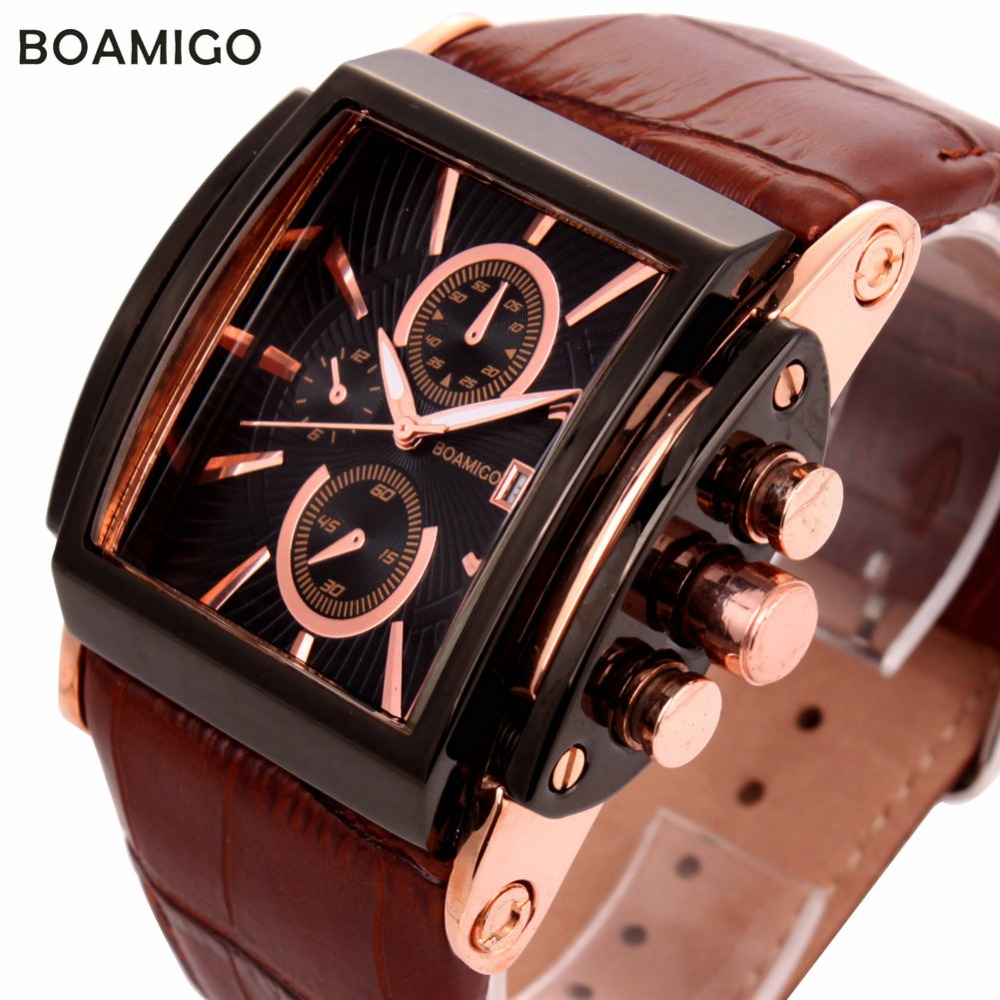 Image 2 - BOAMIGO men quartz watches large dial fashion casual sports watches rose gold sub dials clock brown leather male wrist watcheswatch or be watchedwatch circlewatch craft watches -