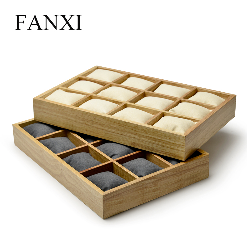 FANXI New Solid Wood 12 Grids Jewelry Display Tray Watch Bangle Organizer With Microfiber Insert 2 Colors Options