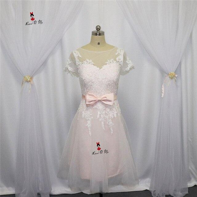 Vestido Casamento Curto Pink Wedding Dress Short Vintage Bride ...