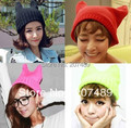 ladies''s fashion devil horns cat ear Knitted hat Beanie Cap Autumn Spring Winter multi colors option whcn+