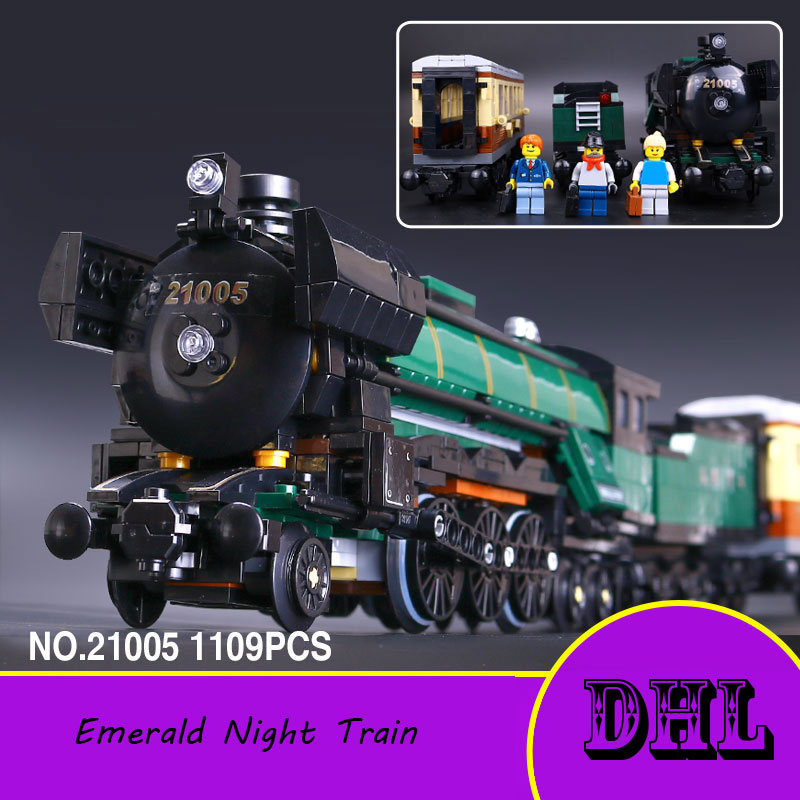 LEPIN 21005 series the Emerald Night model building blocks set Classic compatible Steam trains Toys Christmas Gift lepin 22001 pirate ship imperial warships model building block briks toys gift 1717pcs compatible legoed 10210