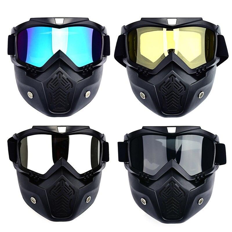 Los hombres de esquí Snowboard invierno máscara esquí de motos de nieve Goggles gafas de esquí a prueba de viento Motocross gafas de sol con la boca filtro