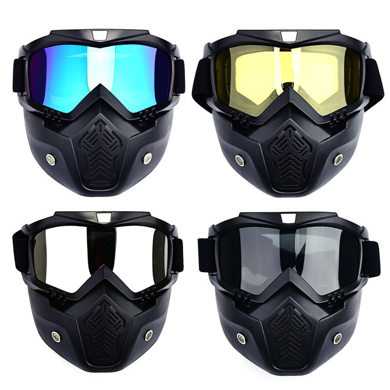 Männer Ski Snowboard Maske Winter Ski Schneemobil Brille Winddicht Skifahren Gläser Motocross Sonnenbrille mit Mund Filter
