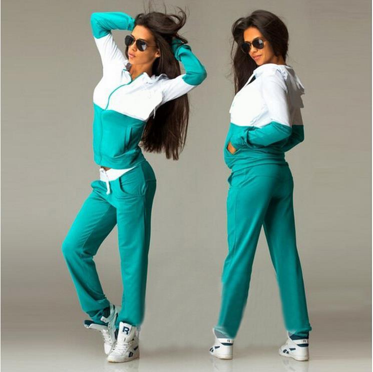7d857a545a8e9 Nueva marca para Mujer golpe del color del remiendo chándal mujeres  camiseta ropa deporte Casual chándal Moletom sudadera + pantalones Mujer 2  Pac conjuntos ...