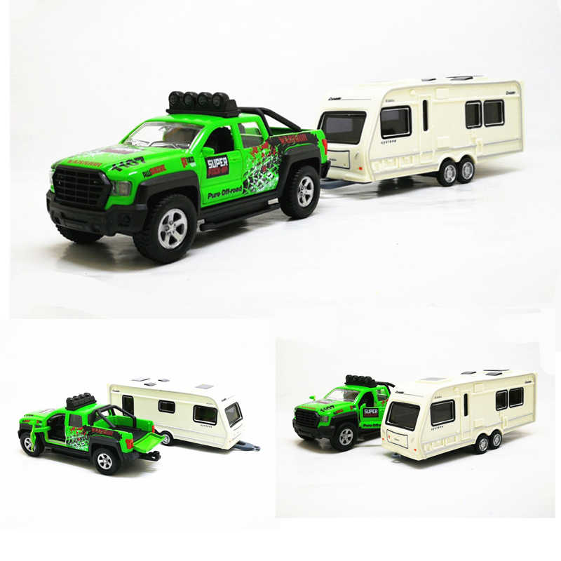 High simulation Pickup truck rv 1:36 scale alloy pull back Trailer yacht cars musical flashing collection model free shipping