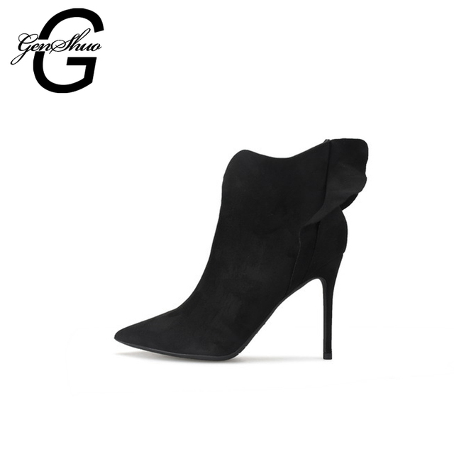 GENSHUO Women's Winter Boots Sexy Pointed Toe Ankle Boots For Women Short Plush Stiletto Shoes Flower High Heels Boots Women