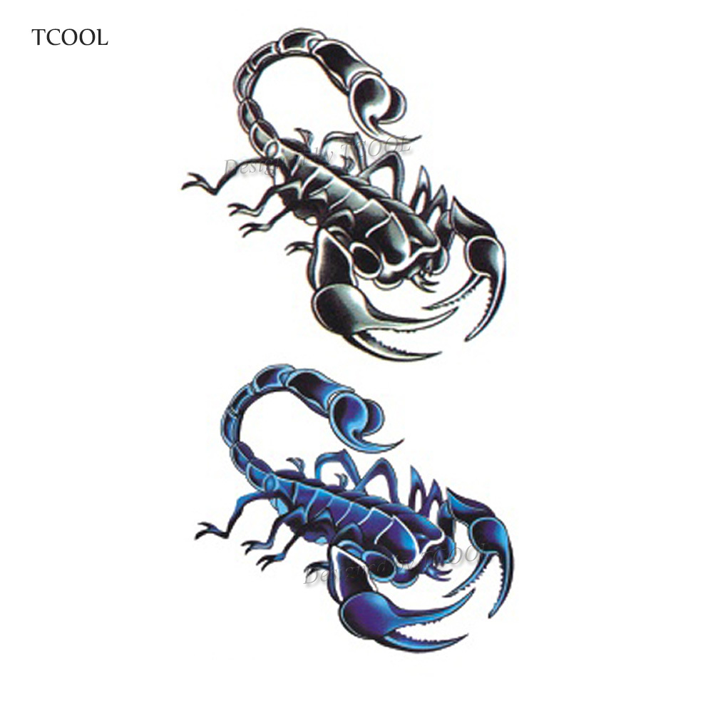 HXMAN Scorpion Temporary Tattoo Sticker Tattoos For Waterproof Women Fashion Body Art Kids Hand Fake Tatoo 10.5X6cm A-068