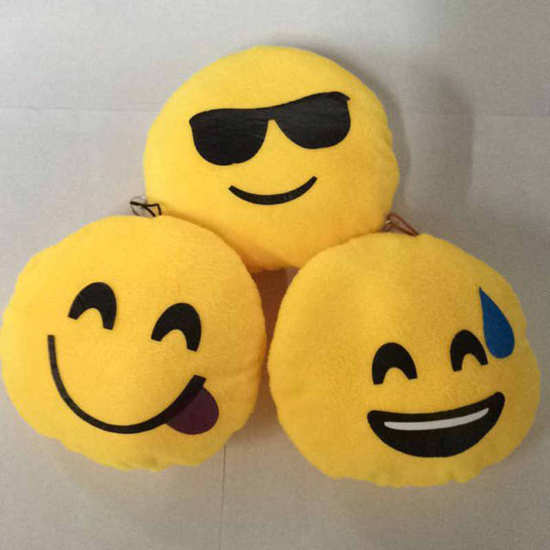 Lucu Smiley Face Emoji Bantal Lembut Mewah Bulat Bentuk Emoticon Bantal Dekorasi Rumah Lucu Mainan Boneka Bantal Dekoratif