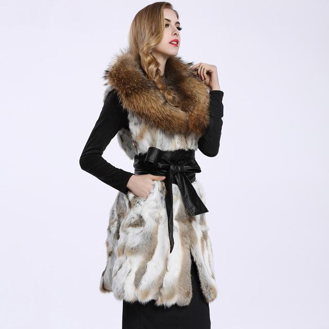 Real genuine natural rabbit fur vest with big raccoon fur collar women long jacket gilet custom any size  90CM length