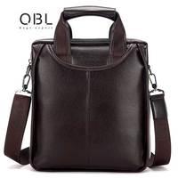 QiBOLu Pu Men Busines Briefcase Bag Black Brown Casual Messenger Shoulder Bags Men's Solid Leather Laptop IPAD MINI Man Bag