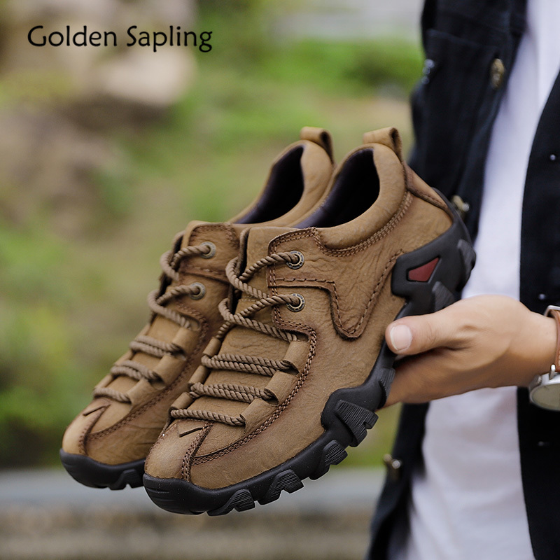 Sneaker Hiking-Shoes Outdoor-Shoes Tactical-Boots Mountain Golden Sapling Men's Genuine-Leather title=