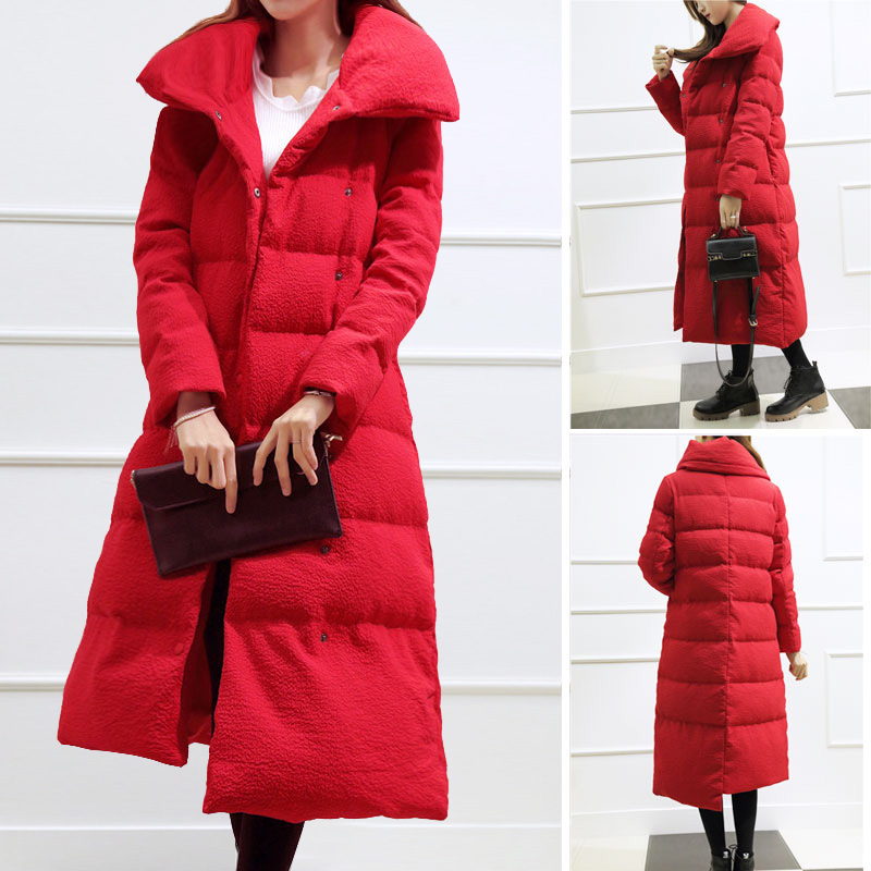 2017 New Korean women winter coat long section of female cotton jacket loose plus size straight knee-length parkas outwear MZ762