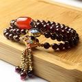 New Arrival Tibetan Jewelry Natural 100% Garnet 6mm Beads Red Jade AAA Quality Women Tassel Rosary Bracelets for Buddhist