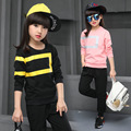 2016 new autumn girls clothing set sweater+ pants set kids two pieces 9-10-12 age children fall clothes pink black suit teenager