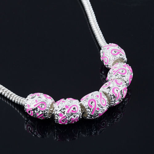 Pink breast cancer spacer beads