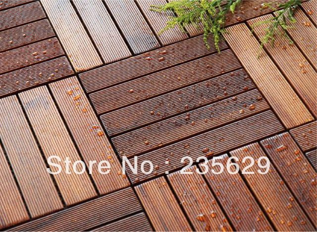 Outdoor Bamboo Floor Tiles 300x300x25mm Bathroom Tile For Garden Decking Flooring Design Ideas