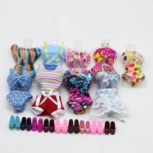 10 Item = 5 Beach Bathing Clothes Swimsuit + 5 Slippers Outfits Dress For Barbie Doll Swimwears clothes eg032