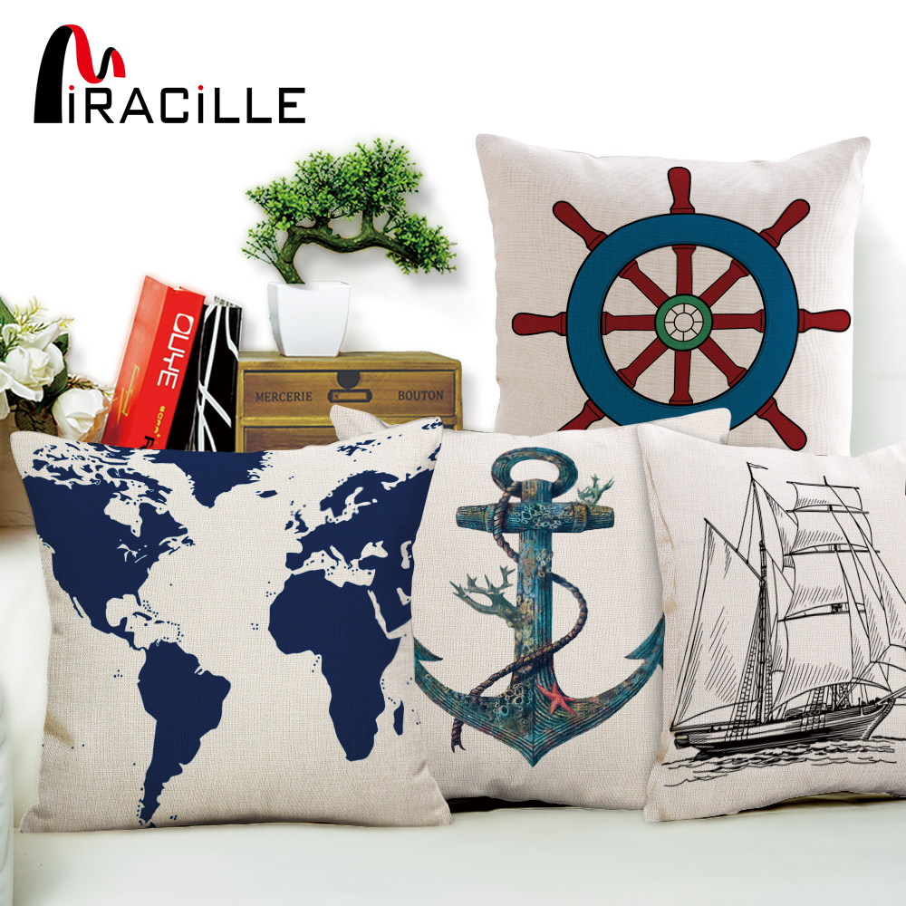 Gracious Home Decorative Pillows : Miracille Mediterranean Sea Anchor Ship Helm Cushions Without Filling Home Decorative Throw ...