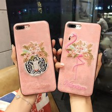 Hot Luxury Flower 3D Handmade Embroidery Flamingo Pink Panther Phone Case For iPhone 6S Plus 7 8 X Leather Tiger Back Cover