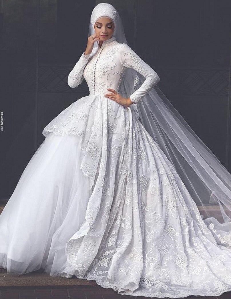 8a832e43b0 Robe De Mariage Musulman High Neck Vintage Lace Ball Gown Arab Long Sleeve Muslim  Wedding Dress Islamic Hijab Wedding Dress