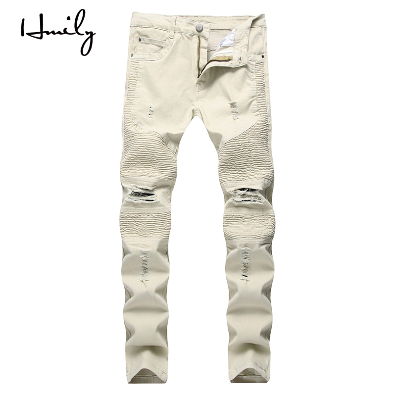 HMILY Brand Designer Slim Fit Skinny Ankle Zipper Ripped Jeans Men Hi-Street Mens Distressed Hole Denim Washed Trousers