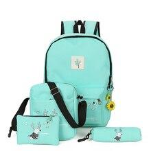Альпинизмом Женщины ноутбука Рюкзаки комплект холст печати Женщины Легкий Bookbags на среднем Школьные ранцы для девочек-подростков