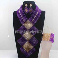 2016 New Purple Gold Crystal Bib Statement Necklace Set Traditional Nigerian Wedding Jewelry Set For Brides