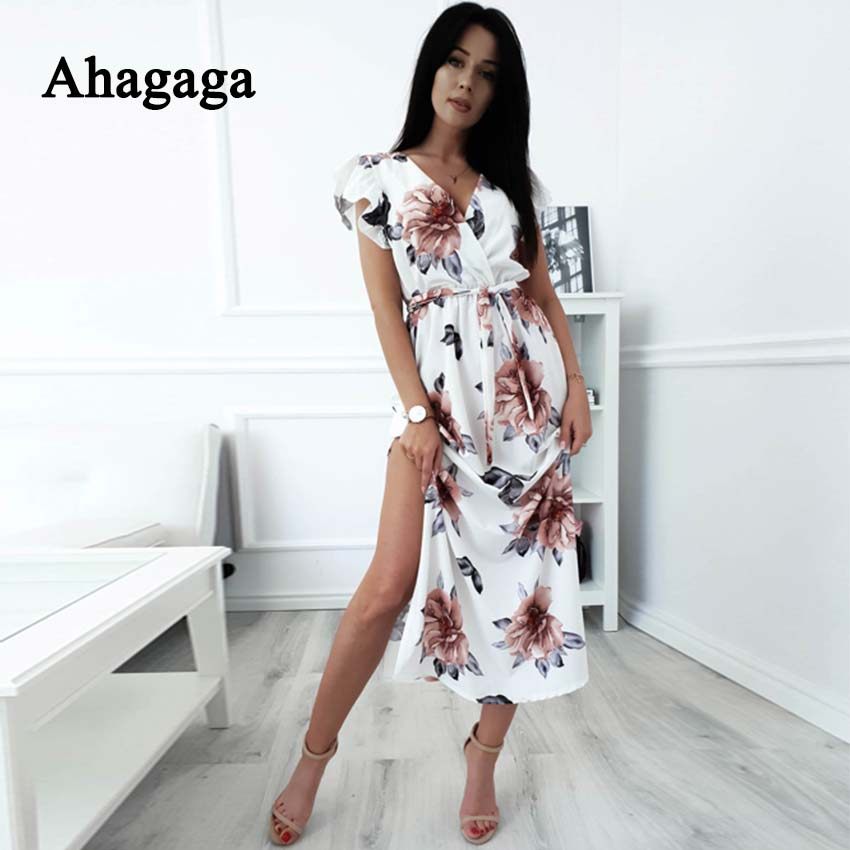 Ahagaga 2019 Spring Floral Print Loose Dress Women Fashion Sexy Club V-neck Regular Casual Bodycon Dresses Vestidos