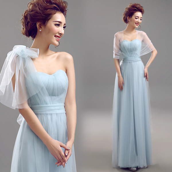 2017 New Bridesmaid Dresses Blue Chiffon Sweetheart With A Shawl Long Prom Dress Plus Size Party Formal Vestido De Novia In From