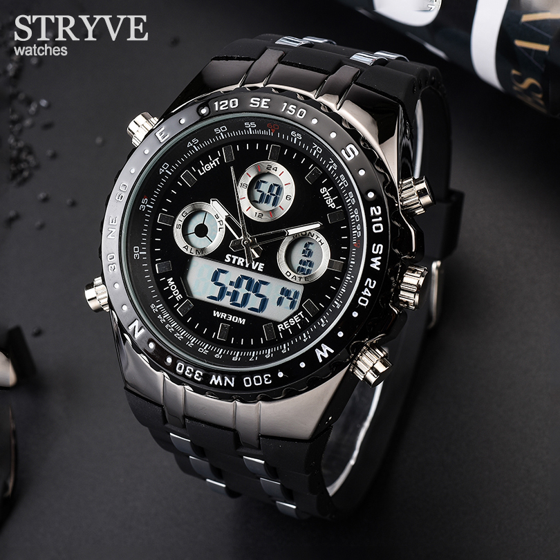 STRYVE Men Analog Digital Silica Metal Multifunction Sports Watches Army Military Heavy Dial Dual Time Men's Quartz Watch