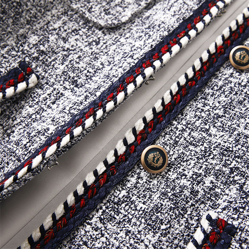 Costumes Femmes Tissage Ruban Tweed Manteau Bleu Luxe Shorts De Blazer Mode Contraste Main Pour twAXaaq