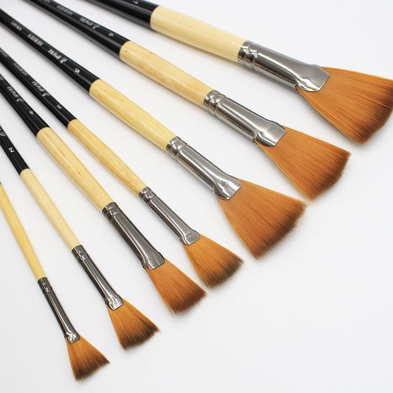 Eval 7pcs/Set Professional Fan Shape Nylon Hair Black Wooden Oil Painting Watercolor Brush For Art Supplies Student Drawing Set