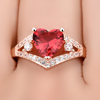 Love Heart-Shaped rRose Red Crystal Zircon ring For Women Gift Drop Shipping Jewelry 5