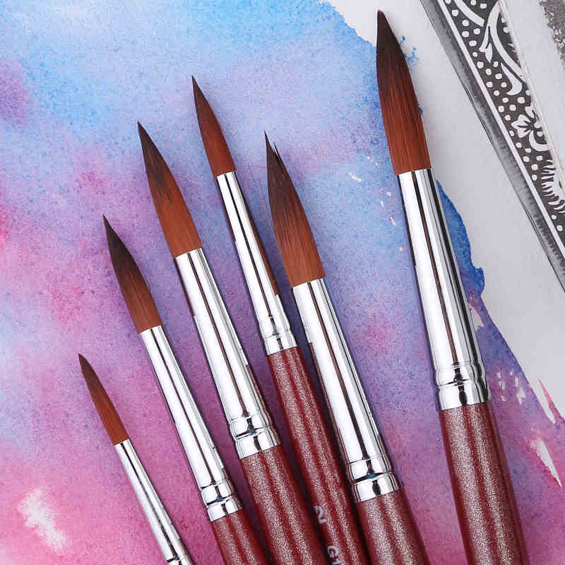 Marley brand 6pcs/set Paint Brush Acrylic Paint Watercolor Brush for Drawing Nylon Hair School Art Supplies Oil Brush