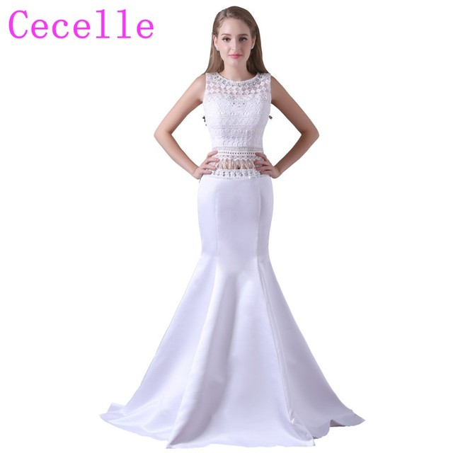 1141fb45d2 White Mermaid Two Pieces Long Prom Dresses 2019 Beaded Lace Top Sation  Skirt Teens Formal Prom Gowns Real Photos Custom Made