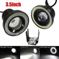 2 Pcs Set 3 5Inch Car Fog Light COB LED Projector Halo Ring DRL Driving Bulbs