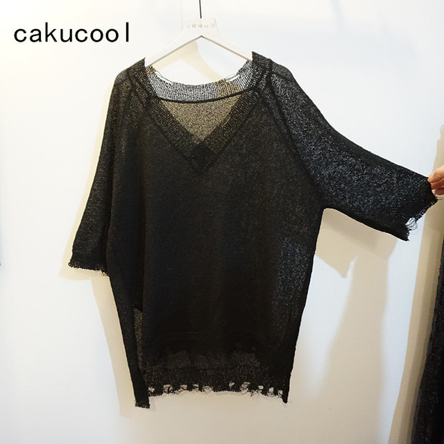 a5e387e55ac Cakucool Shiny Women Sequined knit shirts Half Sleeve Tees Tops V-neck gold  Lurex Loose Thin See-through Ripped Tee Shirt Female