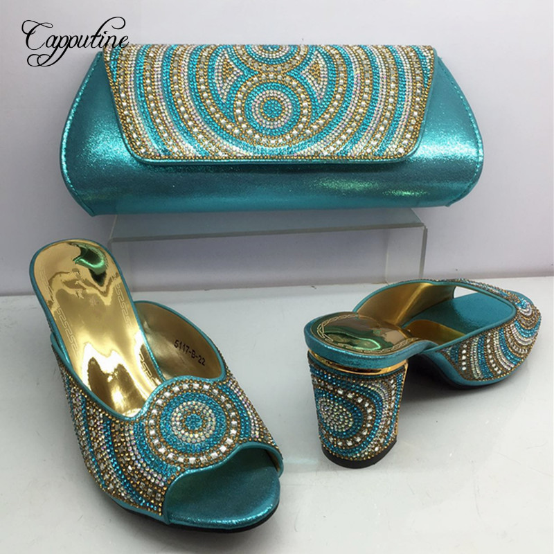 Capputine New Nigerian Style Shoes And Bags Set Italian Summer  Middle Heels Shoes And Purse Sets For Party Size 38-42 BL635C capputine summer style africa low heels woman shoes and bag fashion slipper shoes and purse set for party size 38 42 tx 8210