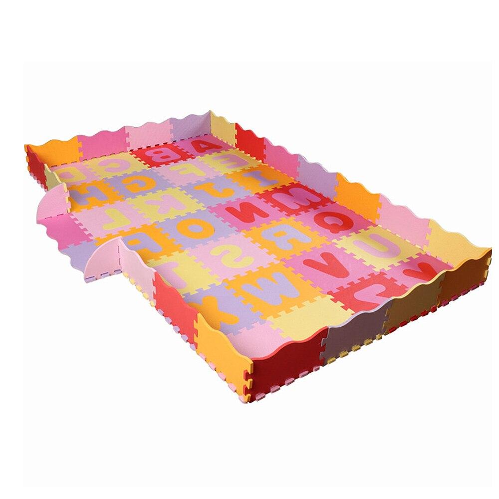 Alphabet couture Puzzle motif bébé tapis de jeu avec clôture mousse carrelage tapis rampant pour bébé enfant tapis Non toxique