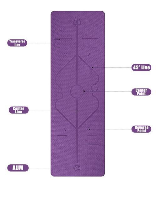 1830*610*6mm TPE Yoga Mat with Position Line Non Slip Carpet Mat 1
