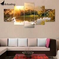 5 قطعة قماش اللوحة الشروق نهر الطبيعة hd الملصقات والمطبوعات قماش اللوحة لغرفة المعيشة شحن مجاني XA2204C