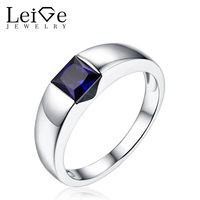 Leige Jewelry Solitaire Sapphire Ring September Birthstone Square Cut Bezel Setting Silver 925 Rings for Women Christmas Gift