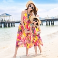 Free Shipping summer Family mother daughter dresses Yellow flower chiffon dress  beach dress beautiful party belt long dresses