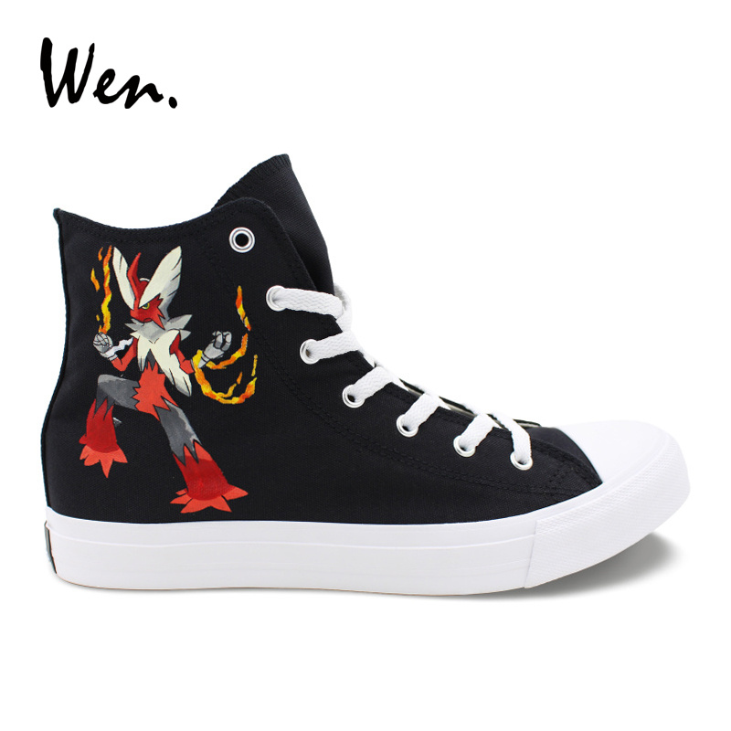 Wen Design Hand Painted Black Shoes Pokemon Blaziken Anime High Top Canvas Unisex Sneakers Boy Girl Rope Soled Flat Plimsolls wen unisex design hand painted shoes anime kiki s delivery service high top canvas sneakers girl boy skateboarding shoes