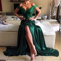 Robe De Soirée Elie Saab Vestido de Noite Longo Casamento Escuro Projeto de Divisão de Cetim Vestidos De Noite da Luva do Tampão verde Parágrafo Casamento
