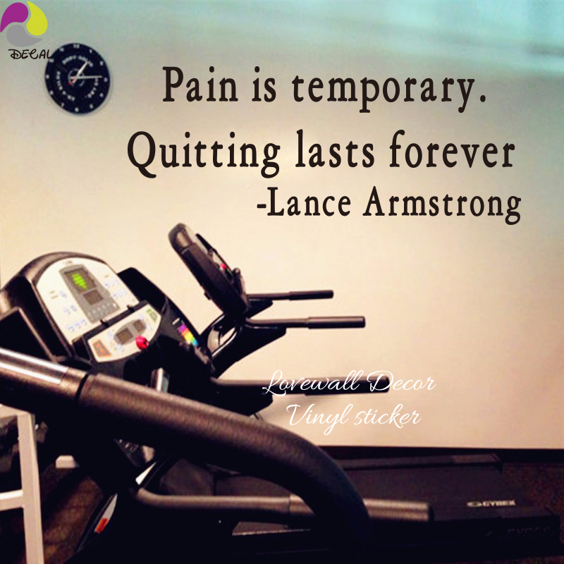 Pain is temporary quitting last forever Lance Armstrong Quote Wall Sticker Gym Office Workout Motivation Inspiration Decal Vinyl