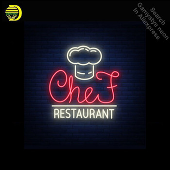 NEON SIGN Chef restaurant logo GLASS Tube BAR Light Sign Store Display paint board Handcraft Design Iconic Sign Pub Bar Signs